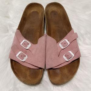 Birkenstock pink strap sandals